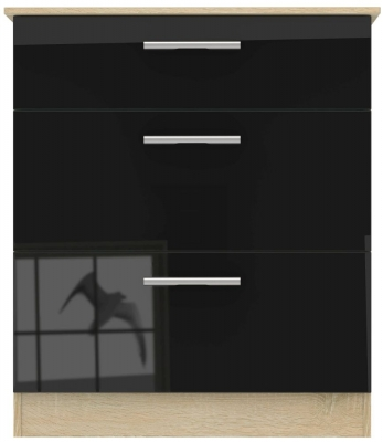 Contrast High Gloss Black and Bardolino 3 Drawer Chest