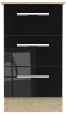 Contrast 3 Drawer Bedside Cabinet - High Gloss Black and Bardolino