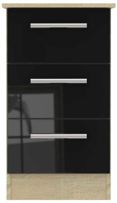 Contrast High Gloss Black and Bardolino 3 Drawer Locker Bedside Cabinet