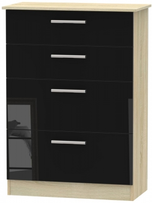 Contrast 4 Drawer Deep Chest - High Gloss Black and Bardolino