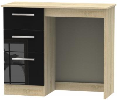 Contrast Single Pedestal Dressing Table - High Gloss Black and Bardolino
