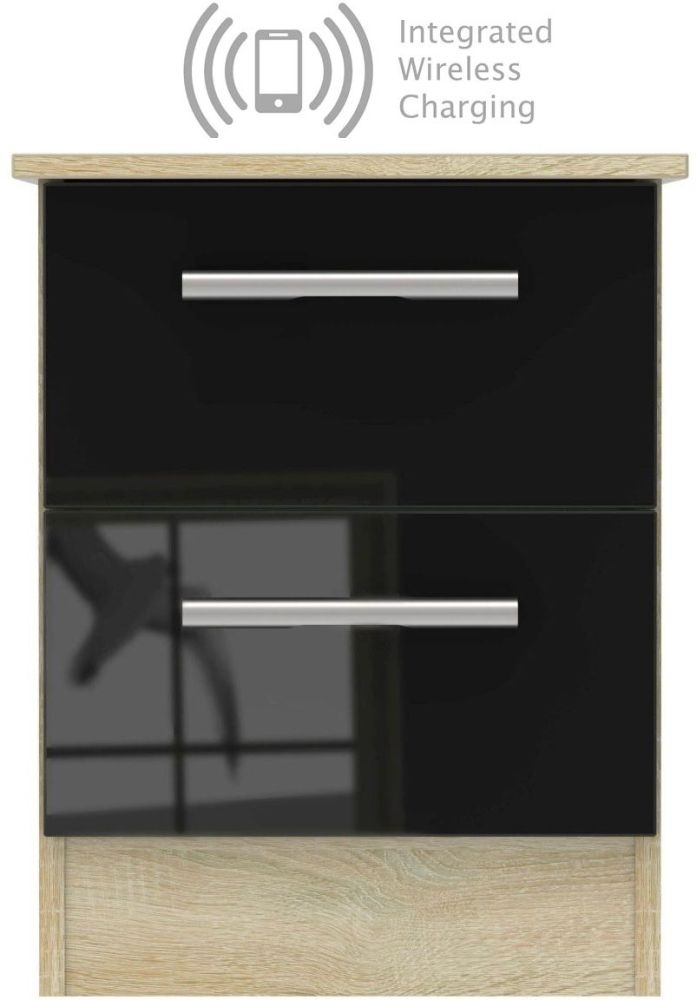 Contrast 2 Drawer Bedside Cabinet with Integrated Wireless Charging - High Gloss Black and Bardolino