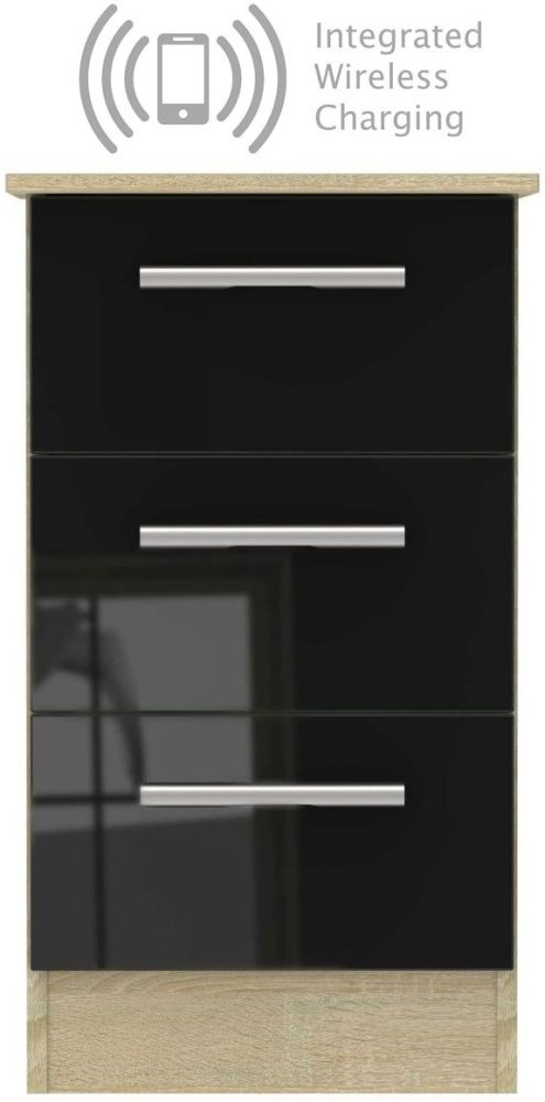 Contrast 3 Drawer Bedside Cabinet with Integrated Wireless Charging - High Gloss Black and Bardolino
