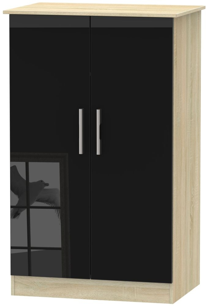 Contrast 2 Door Midi Wardrobe - High Gloss Black and Bardolino