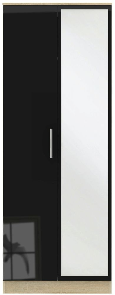 Contrast 2 Door Mirror Wardrobe - High Gloss Black and Bardolino