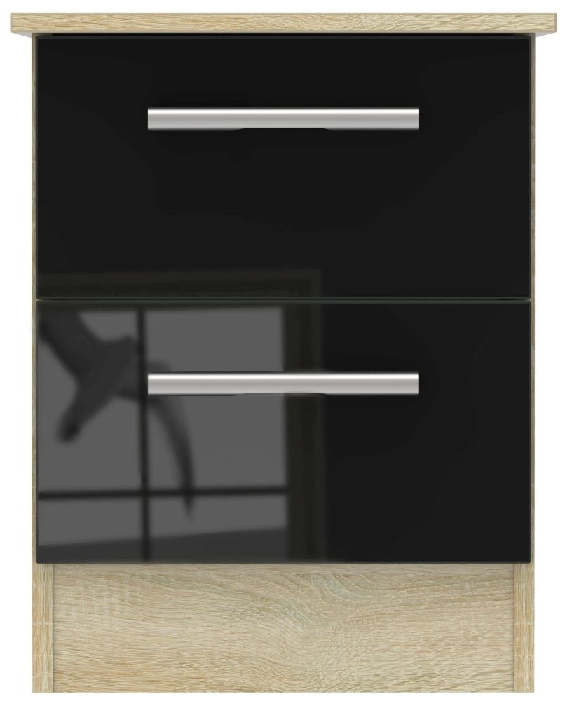Contrast High Gloss Black and Bardolino 2 Drawer Locker Bedside Cabinet
