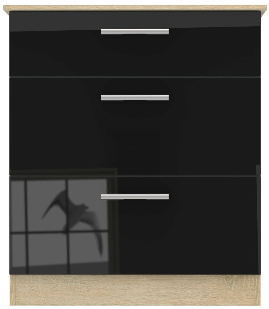 Contrast 3 Drawer Chest - High Gloss Black and Bardolino