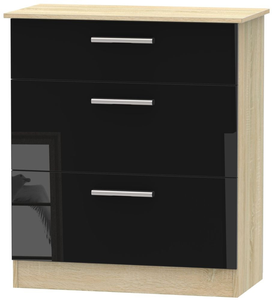 Contrast 3 Drawer Deep Chest - High Gloss Black and Bardolino