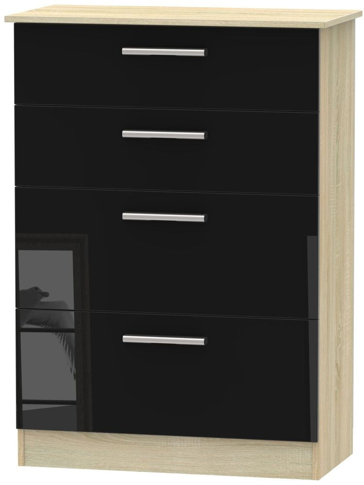 Contrast High Gloss Black and Bardolino 4 Drawer Deep Chest