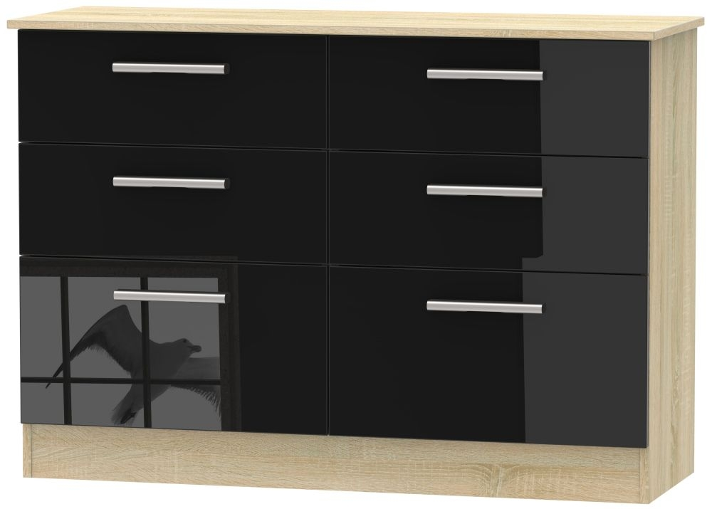 Contrast High Gloss Black and Bardolino 6 Drawer Midi Chest