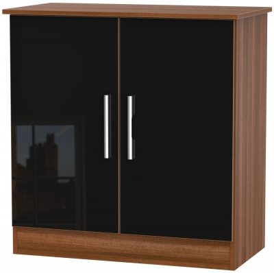 Contrast 2 Door Hall Unit - High Gloss Black and Noche Walnut