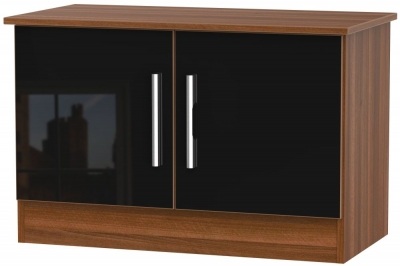 Contrast 2 Door Low Unit - High Gloss Black and Noche Walnut