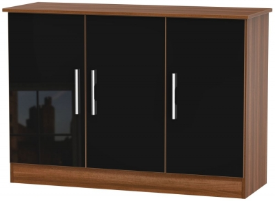 Contrast 3 Door Sideboard - High Gloss Black and Noche Walnut