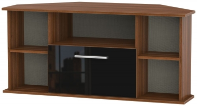 Contrast Corner TV Unit - High Gloss Black and Noche Walnut