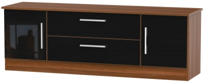 Contrast Wide TV Unit - High Gloss Black and Noche Walnut