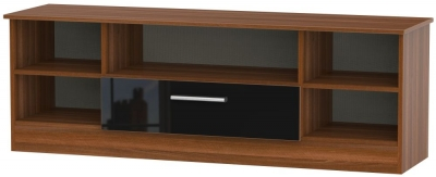 Contrast Wide Open TV Unit - High Gloss Black and Noche Walnut