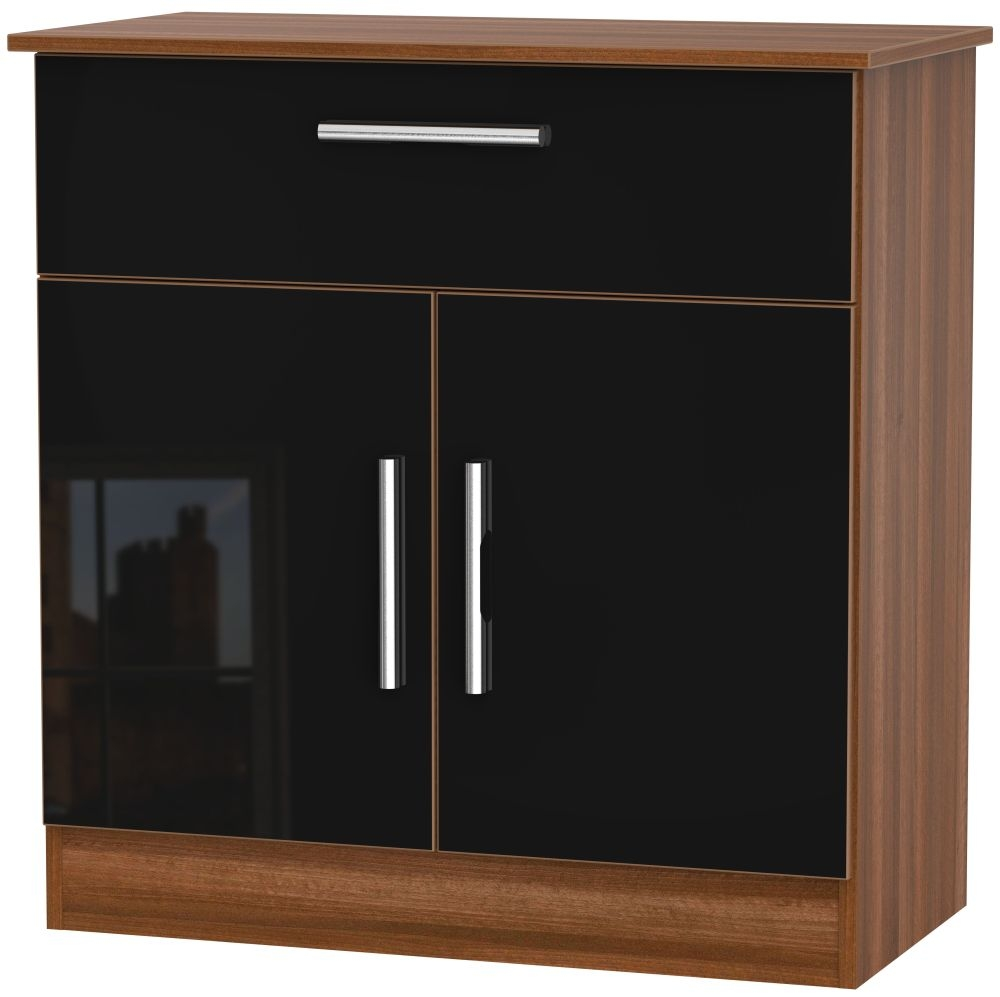 Contrast 2 Door 1 Drawer Narrow Sideboard - High Gloss Black and Noche Walnut