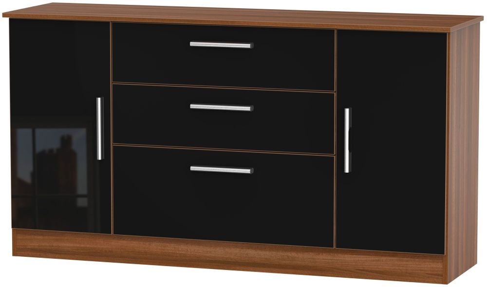 Contrast 2 Door 3 Drawer Wide Sideboard - High Gloss Black and Noche Walnut