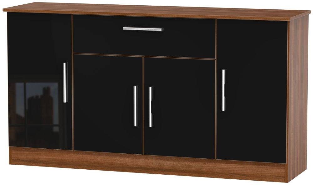 Contrast 4 Door 1 Drawer Wide Sideboard - High Gloss Black and Noche Walnut