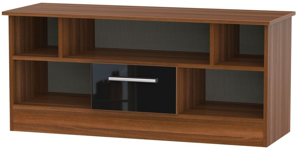 Contrast Open TV Unit - High Gloss Black and Noche Walnut