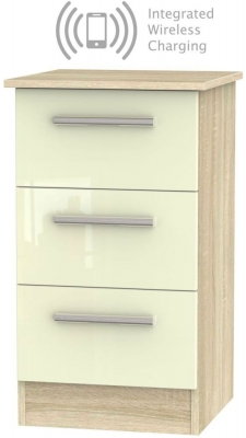 Contrast 3 Drawer Bedside Cabinet with Integrated Wireless Charging - High Gloss Cream and Bardolino