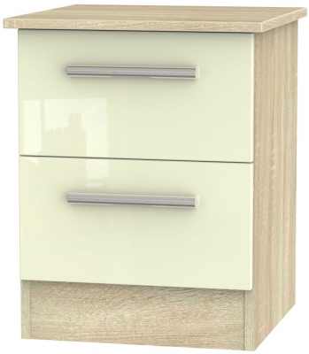Contrast 2 Drawer Bedside Cabinet - High Gloss Cream and Bardolino
