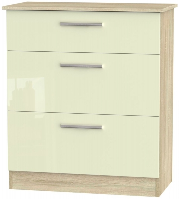 Contrast 3 Drawer Deep Chest - High Gloss Cream and Bardolino