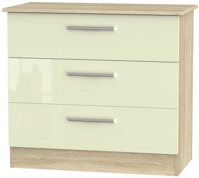 Contrast 3 Drawer Chest - High Gloss Cream and Bardolino