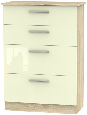 Contrast 4 Drawer Deep Chest - High Gloss Cream and Bardolino