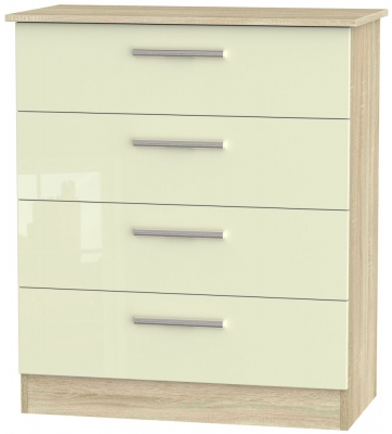 Contrast 4 Drawer Chest - High Gloss Cream and Bardolino
