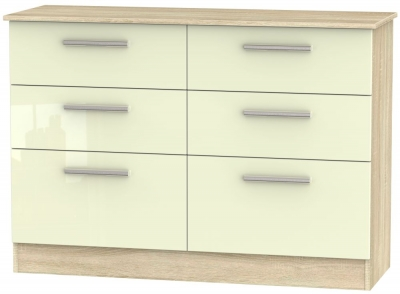 Contrast 6 Drawer Midi Chest - High Gloss Cream and Bardolino