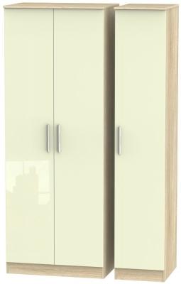 Contrast 3 Door Wardrobe - High Gloss Cream and Bardolino
