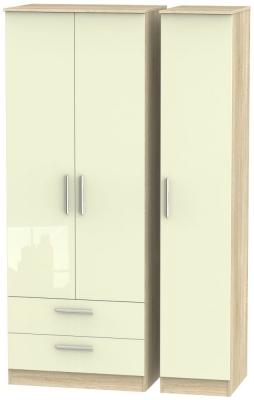 Contrast 3 Door 2 Drawer Wardrobe - High Gloss Cream and Bardolino