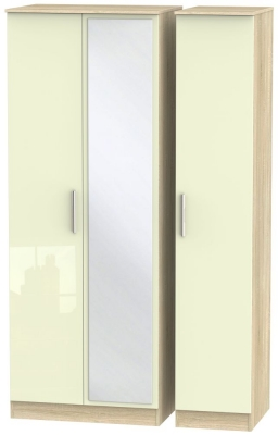 Contrast 3 Door Mirror Wardrobe - High Gloss Cream and Bardolino