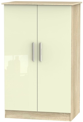 Contrast 2 Door Midi Wardrobe - High Gloss Cream and Bardolino