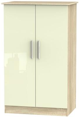 Contrast 2 Door Midi Wardrobe - High Gloss Cream and Bardolino