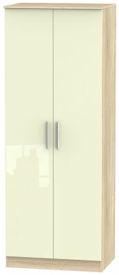 Contrast 2 Door Wardrobe - High Gloss Cream and Bardolino