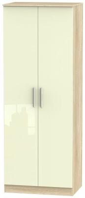 Contrast 2 Door Wardrobe - High Gloss Cream and Bardolino