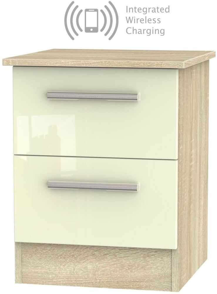 Contrast 2 Drawer Bedside Cabinet with Integrated Wireless Charging - High Gloss Cream and Bardolino