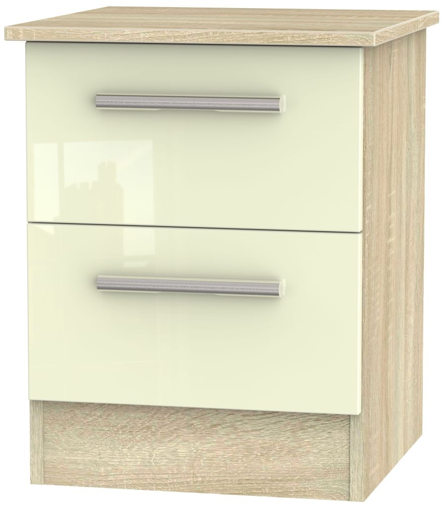 Contrast High Gloss Cream and Bardolino 2 Drawer Locker Bedside Cabinet
