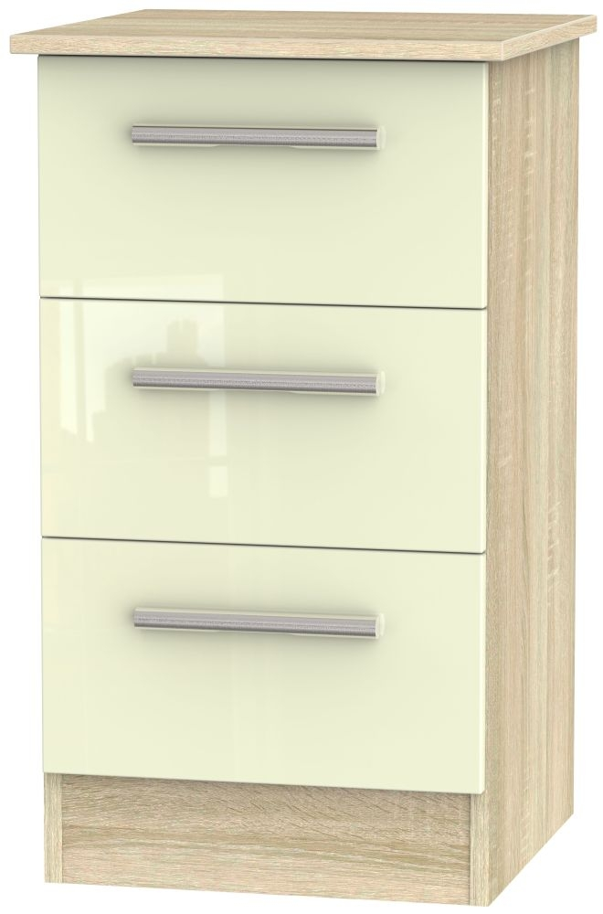 Contrast High Gloss Cream and Bardolino 3 Drawer Locker Bedside Cabinet