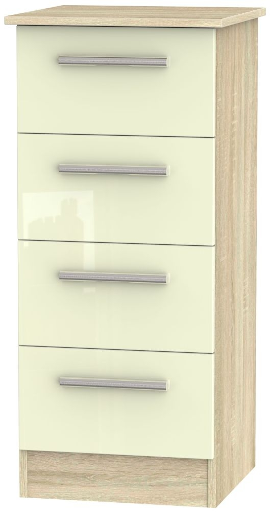 Contrast High Gloss Cream and Bardolino Chest of Drawer - 4 Drawer Locker