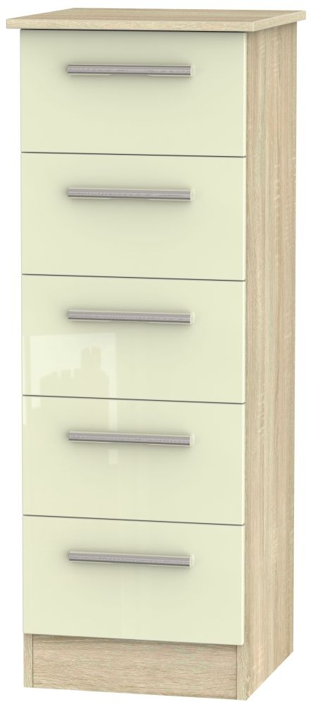 Contrast 5 Drawer Tall Chest - High Gloss Cream and Bardolino