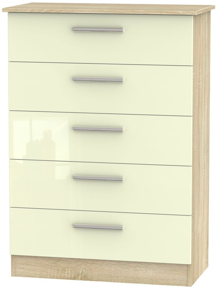 Contrast 5 Drawer Chest - High Gloss Cream and Bardolino