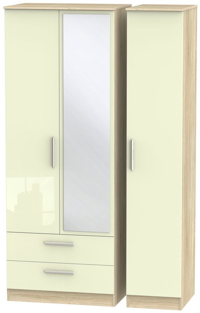 Contrast 3 Door Combi Wardrobe - High Gloss Cream and Bardolino