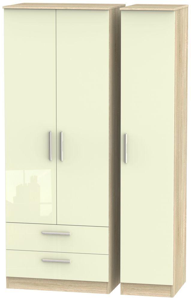 Contrast 3 Door 2 Drawer Wardrobe - High Gloss Cream and Bardolino