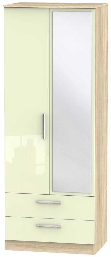 Contrast 2 Door Combi Wardrobe - High Gloss Cream and Bardolino