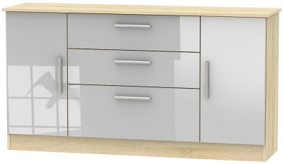 Contrast 2 Door 3 Drawer Wide Sideboard - High Gloss Grey and Bardolino