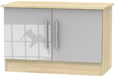 Contrast 2 Door Low Unit - High Gloss Grey and Bardolino
