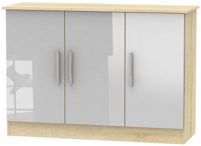 Contrast 3 Door Narrow Sideboard - High Gloss Grey and Bardolino